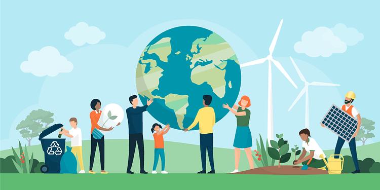 people surrounding the globe with wind turbine