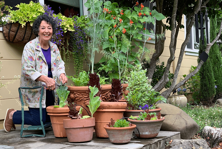 Toni Gattone with succulents