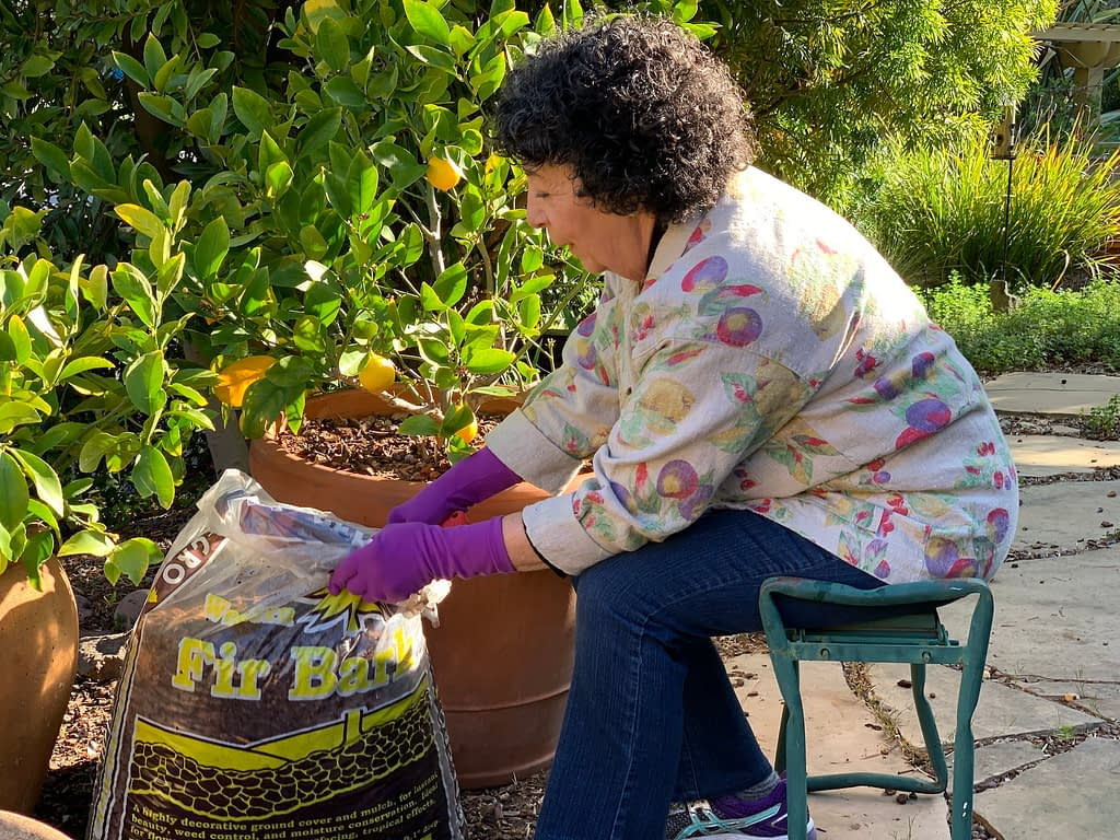 Toni Gattone working in her garden in early spring.